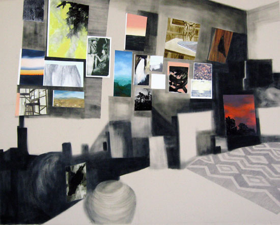 <h3>In Her Studio, 2009</h3> 				<h4>Oil, pencil and image transfer on canvas</h4> 				<h4>60 x 70 inches</h4>